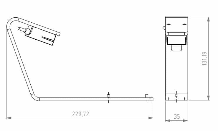 Side Barcode Reader DR500 line dimensions