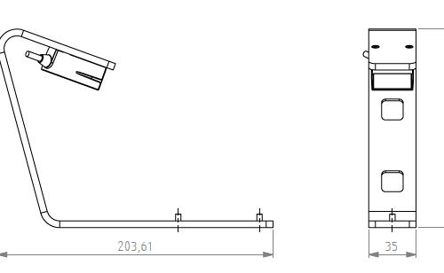 Side Barcode Reader DR700 line dimensions
