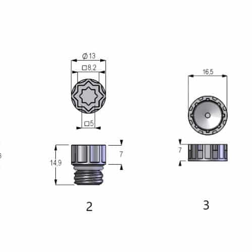(1) Screw Cap-24 for Internal Thread Tubes (2) Screw Cap-48 for Internal Thread Tubes (3) Screw Cap-24 for External Thread Tubes (4) Screw Cap-48 for External Thread Tubes