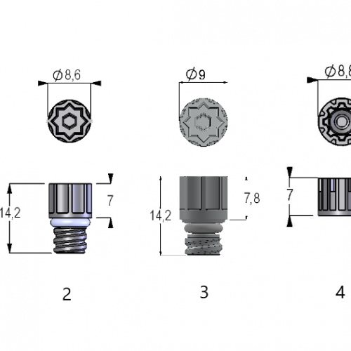 (1) Screw Cap Low Profile for Internal Thread Tubes (2) Screw Cap-96 for Internal Thread Tubes (3) Screw Cap Ultra for Internal Thread Tubes (4) Screw Cap-96 for External Thread Tubes (5) Screw Cap Optimized for Automated Stores for External Thread Tubes