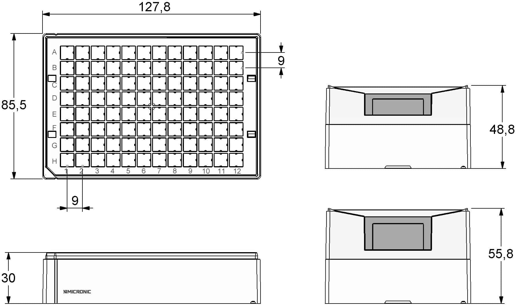 Micronic 96-4 Rack dimensions