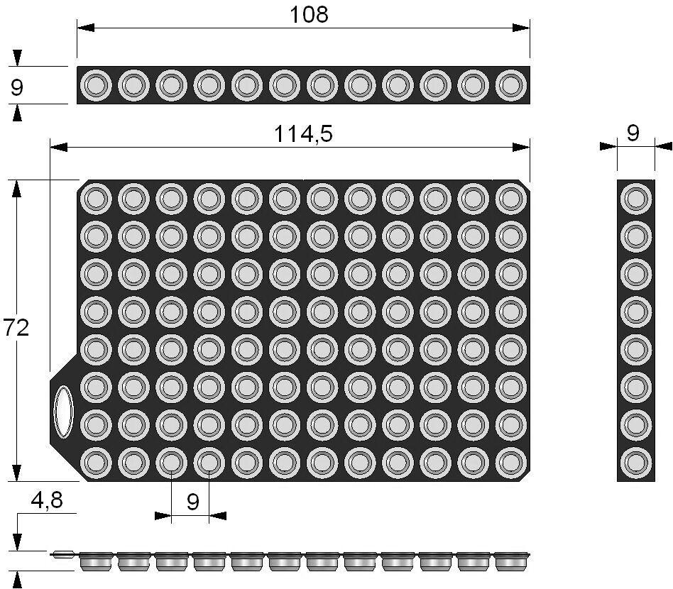TPE Push Caps dimensions