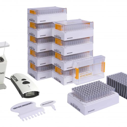 The Micronic Starter Pack Basic with Push Caps is ideal for research laboratories that want to start using 2D coded tubes