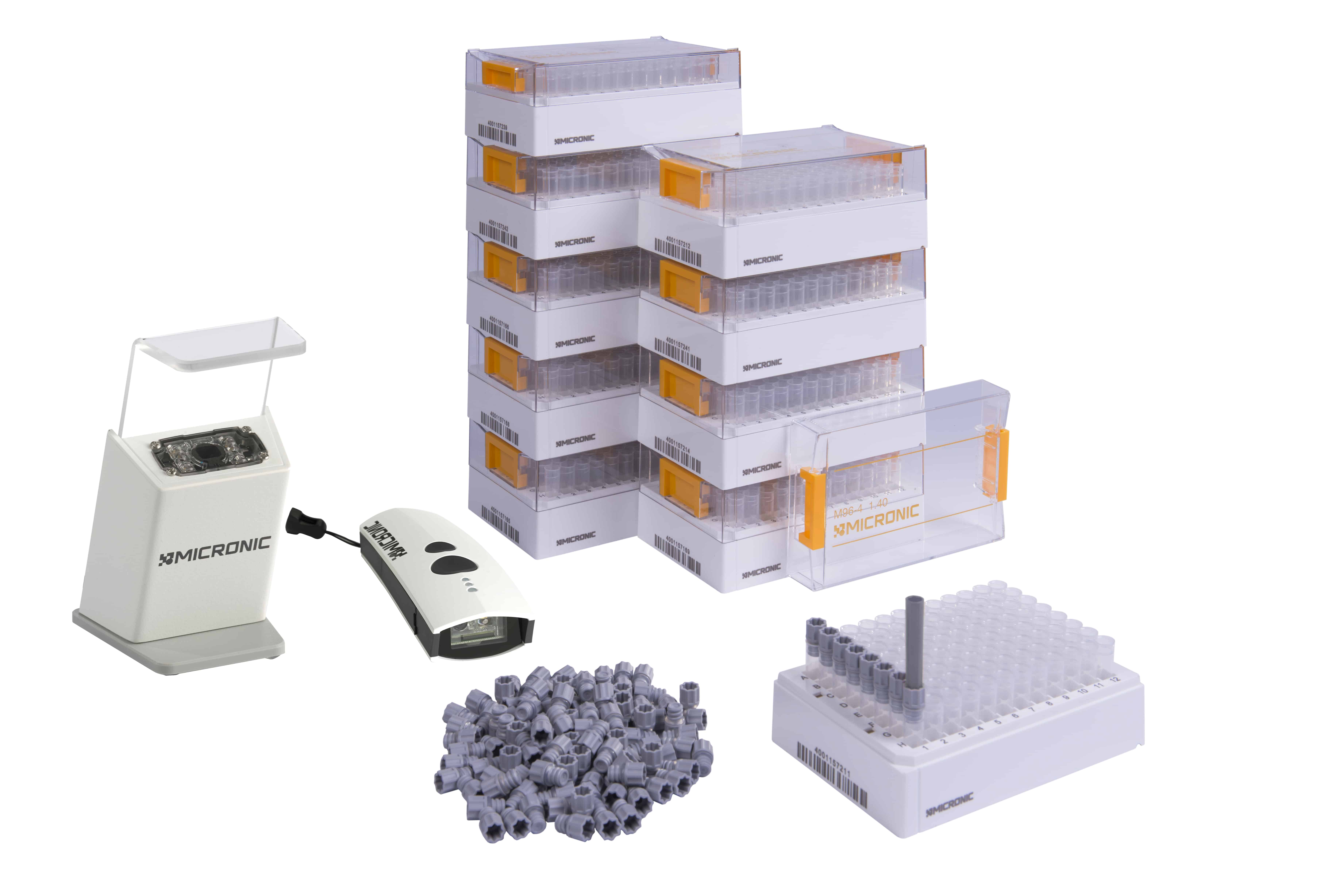 The Micronic Starter Pack Basic with Screw Caps is ideal for research laboratories that want to start using 2D coded tubes