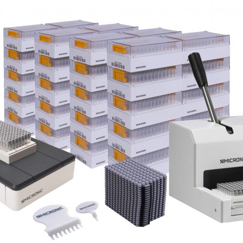 The Micronic Starter Pack Premium with Push Caps is ideal for research laboratories that want to start using 2D coded tubes