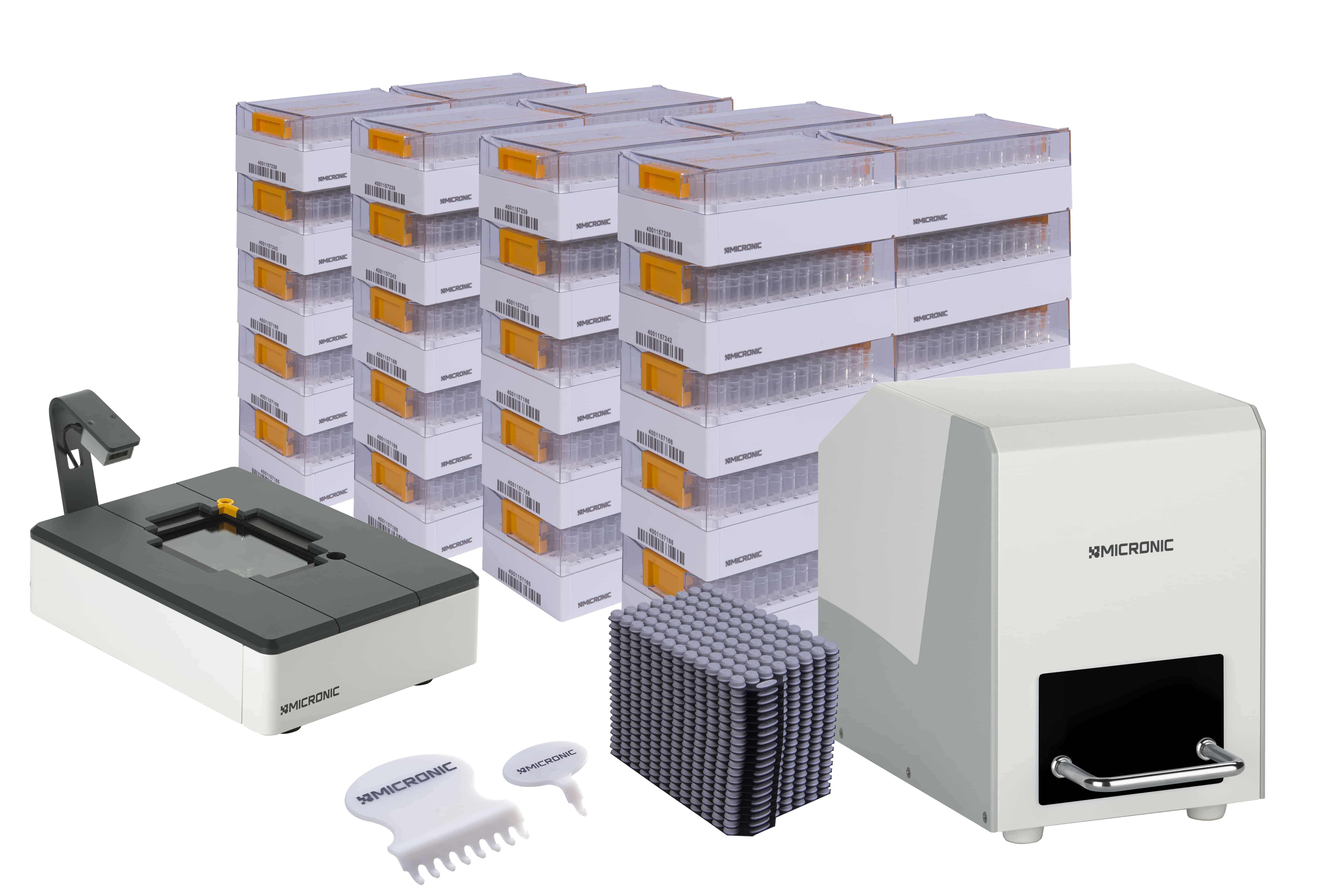 The Micronic Starter Pack Premium Plus with Push Caps is ideal for research laboratories that want to start using 2D coded tubes